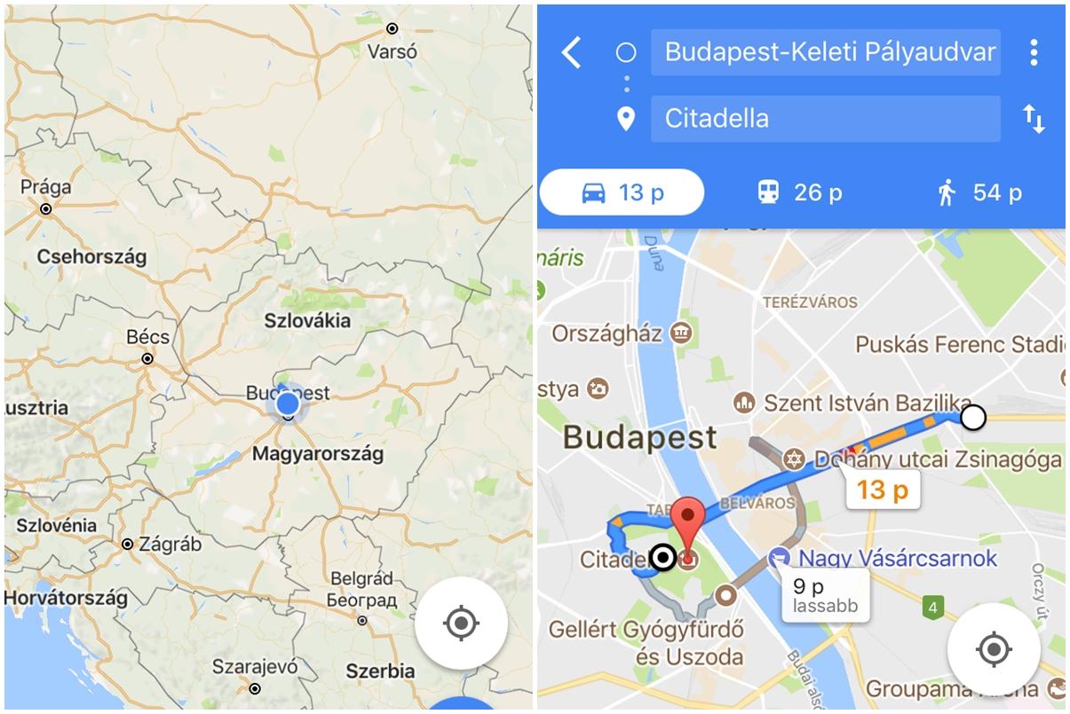 Google Térkép útvonalterv